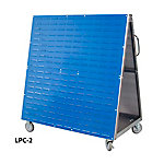 DuraBoard Mobile Combination Cart with One Side DuraBoard Poly Pegboard and One Side Louvered Panel Storage