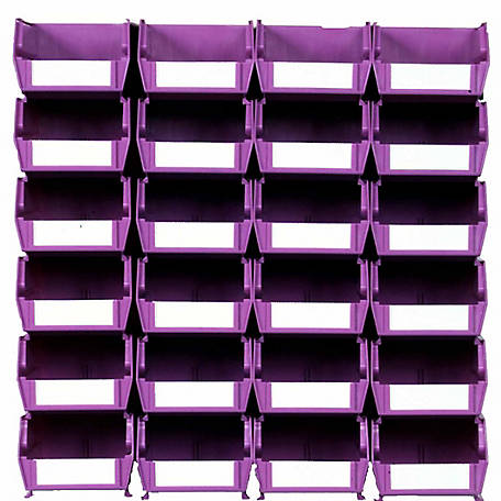 LocBin 26-Piece Wall Mount Bin And Rail System, 5-3/8 in. Orchid Bin