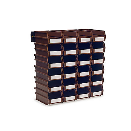 LocBin 26-Piece Wall Mount Bin And Rail System, 7-3/8 in. Brown Bin