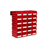 LocBin 26-Piece Wall Mount Bin And Rail System, 7-3/8 Red Bin