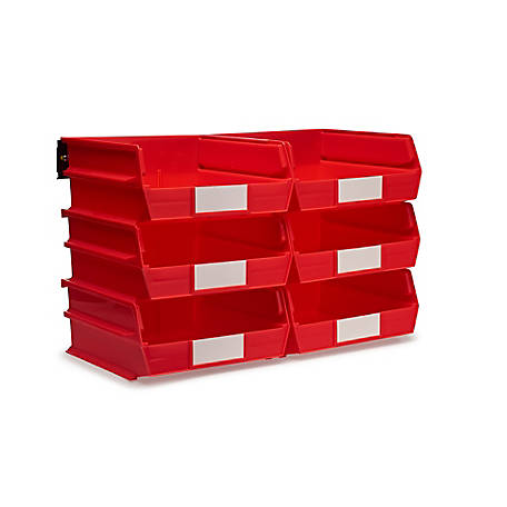 LocBin 8-Piece Wall Mount Bin And Rail System, 10-7/8 Red Bin