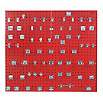 LocBoard Square Hole Pegboard with 63-Piece LocHook Assortment, Red