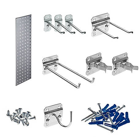 LocBoard Garden Pegboard Strip Kit with Square Hole Pegboard and 8-Piece LocHook Assortment, Silve, 31.5 in. x 9 in.
