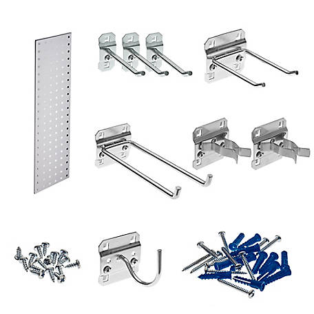 LocBoard Garden Pegboard Strip Kit Square Hole Pegboard and 8-Piece LocHook Assortment, White, 31.5 in. x 9 in.