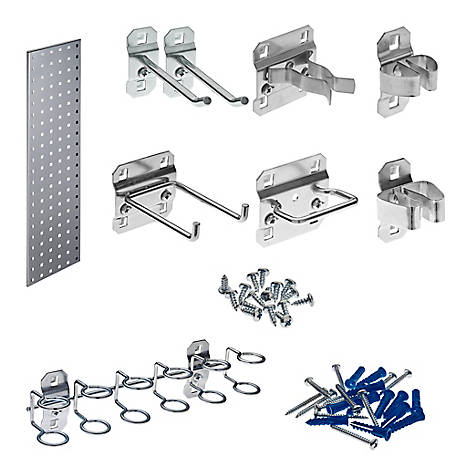 LocBoard Tool Storage Kit Square Hole Pegboard and 8-Piece LocHook Assortment, Silver, 31.5 in. x 9 in.