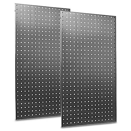 LocBoard Stainless Steel Square Hole Pegboards with Wall Mounting Hardware, 24 in. W x 42-1/2 in. H x 9/16 in. D