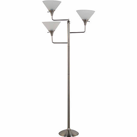 BarrenFork Decor 71 in. Brushed Nickel 3-Head Floor Lamp