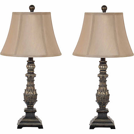 BarrenFork Decor 27 in. Antique Gold Table Lamp Set