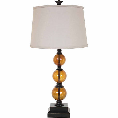 BarrenFork Decor 29 in. Amber Glass Table Lamp with Natural Finish Linen Shade