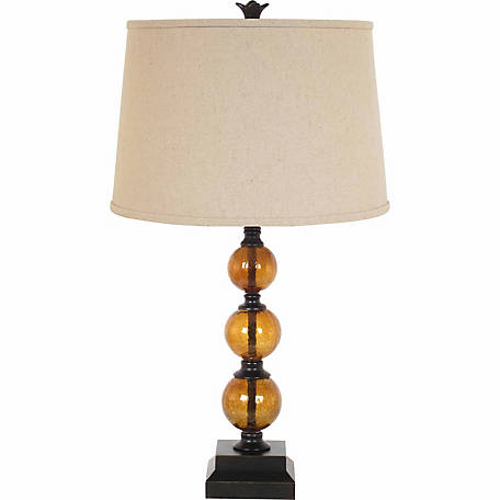 BarrenFork Decor 29 in. Amber Glass Table Lamp with Khaki Finish Linen Shade