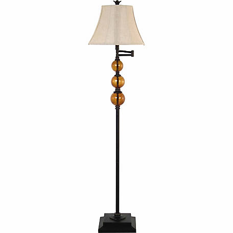 BarrenFork Decor 61 in. Swingarm Floor Lamp with Amber Glass Fonts
