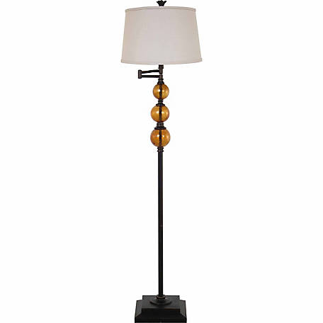 BarrenFork Decor 61 in. Swingarm Floor Lamp with Amber Glass Fonts and Stone Finish Shade