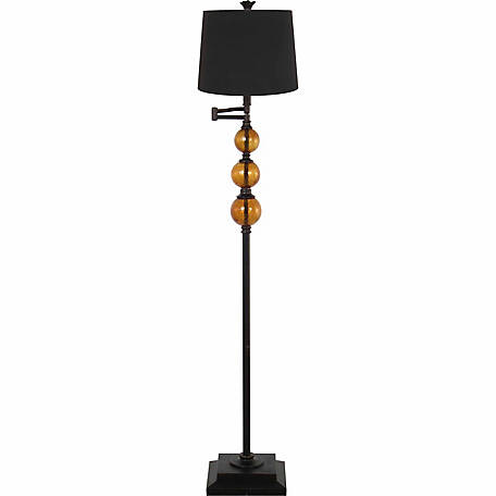 BarrenFork Decor 61 in. Swingarm Floor Lamp with Amber Glass Fonts and Black Shade