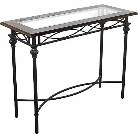 BarrenFork Decor 40 in. Dark Bronze Console Table with Mahogany Wood Top and Glass Insert