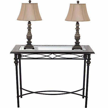 BarrenFork Decor Dark Bronze Console Table with Lamp Set