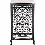 BarrenFork Decor Oil Rubbed Bronze Open Design Wine Storage Cabinet with Wood Table Top