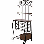 BarrenFork Decor Wine Storage Rack with Wood Tops, Shelves and Rattan Style Storage Basket