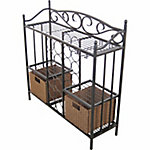 BarrenFork Decor Wine Storage Rack with Rattan Style Storage Baskets