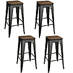 AmeriHome Loft Rustic Gunmetal 4-Piece Bar Stool Set with Wood Seats