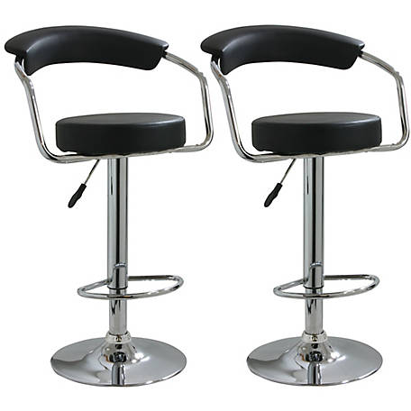 AmeriHome 2-Piece Adjustable Height Bar Stool Set