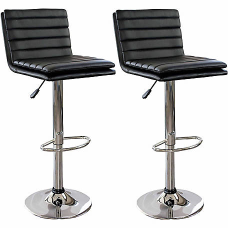 AmeriHome Modern Ripple Back 2-Piece Bar Stool Set