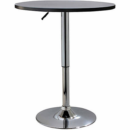 AmeriHome Adjustable Height Wood Top Round Bistro Table
