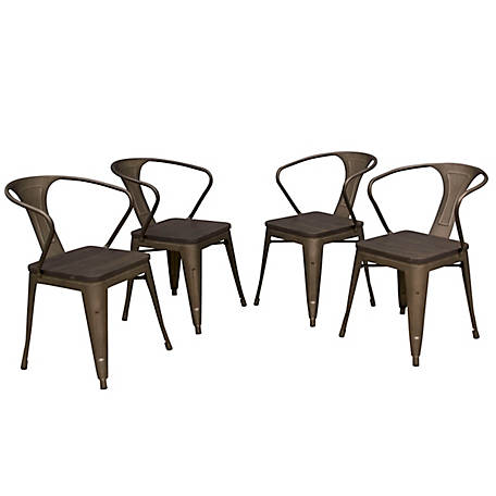 AmeriHome Loft Rustic Gunmetal 4-Piece Metal Dining Chair Set with Wood Seats