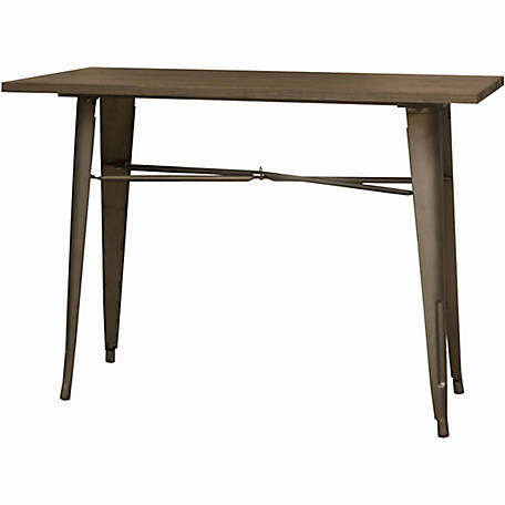 AmeriHome Loft Rustic Gunmetal Counter Height Metal Dining Table with Wood Top