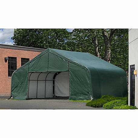 ShelterLogic SP Peak 20 ft. x 32 ft. x 13 ft. Heavy-Duty Green 14.5 oz. PE Shelter