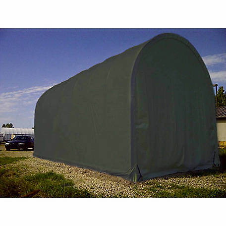 ShelterLogic SP Round 14 ft. x 25 ft. x 13 ft. Heavy-Duty Green 14.5 oz. PE Shelter