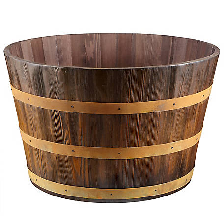 Red Shed Wooden Barrel Planter At Tractor Supply Co
