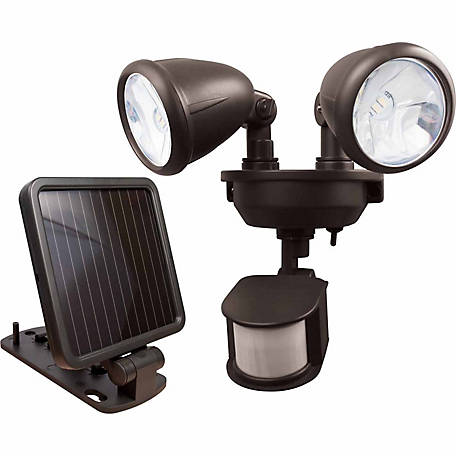 MAXSA Innovations Solar-Powered Dual Head LED Security Spotlight, Dark Bronze