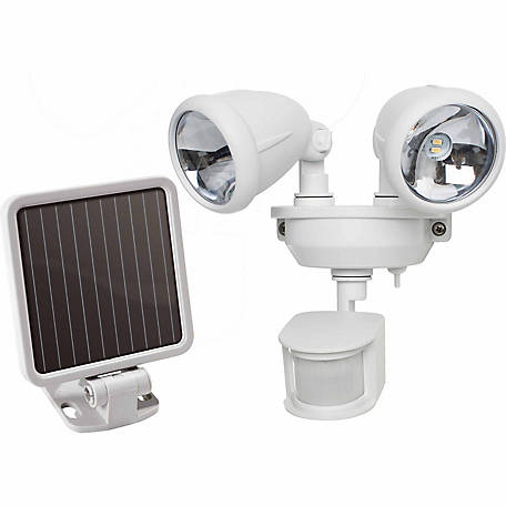 Solar-Powered Dual Head LED Security Light, Off White
