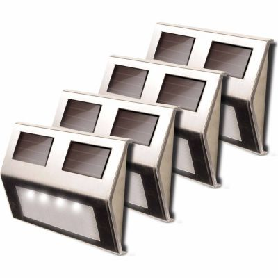 Buy Metal Solar Deck Light; Stainless Steel; Pack of 4 Online