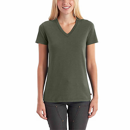 Carhartt Women's Short Sleeve Solid V-Neck Tee Shirt, 102452