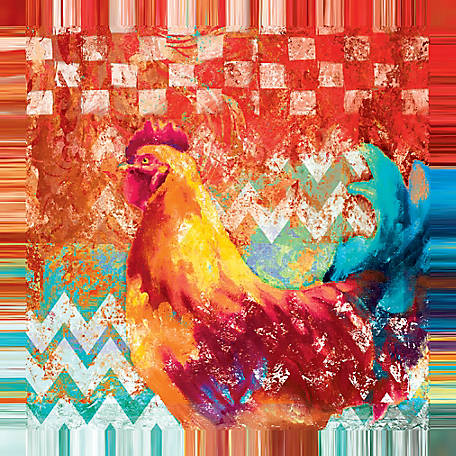 Designs Direct Chevron Rooster One 24x24 Canvas Wall Art