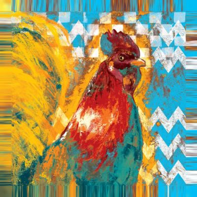 Buy Designs Direct Chevron Rooster Two 24x24 Canvas Wall Art Online