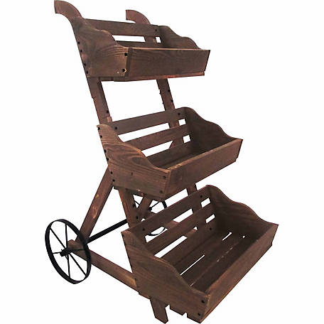 Leigh Country Charred Three-Tiered Garden Cart Planter