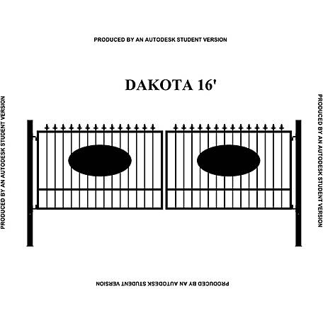 Gate Builders Dakota, 16 ft. with Oval Inserts and Finials