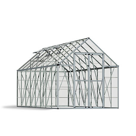 Palram Snap & Grow 8 ft. x 16 ft. Hobby Greenhouse, Silver