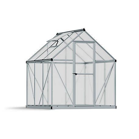 Palram Mythos 6 ft. x 6 ft. Hobby Greenhouse, Silver