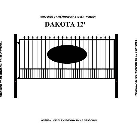 Gate Builders Dakota, 12 ft. with Oval Inserts and Finials