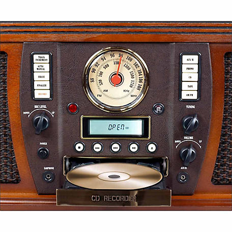 Victrola Aviator Wooden 7-in-1 Nostalgic Record Player with Bluetooth and Digital CD Encoding, Mahogany