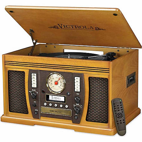 Victrola Aviator Wooden 7-in-1 Nostalgic Record Player with Bluetooth and Digital CD Encoding, Oak
