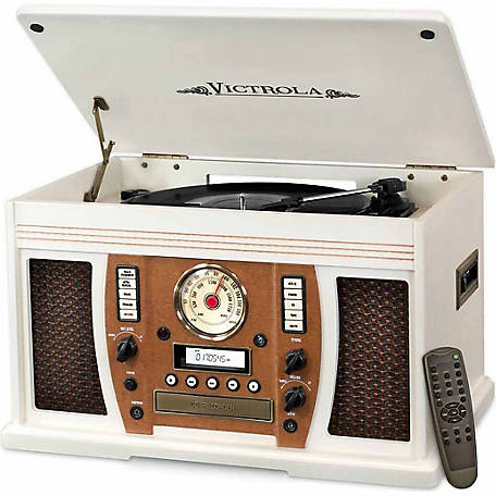 Victrola Aviator Wooden 7-in-1 Nostalgic Record Player with Bluetooth and Digital CD Encoding, White