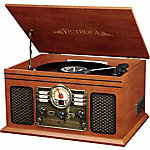 Victrola Wooden 6-in-1 Nostalgic Record Player with Bluetooth and 3 Speed Turntable, Mahogany