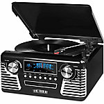 Victrola Retro Record Player Stereo with Bluetooth and USB Digital Encoding, Black