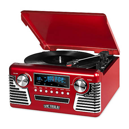 Victrola Retro Record Player Stereo with Bluetooth and USB Digital Encoding, Red