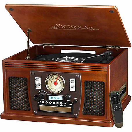 Victrola Wooden 7-in-1 Nostalgic Record Player with Bluetooth and USB Encoding, Mahogany