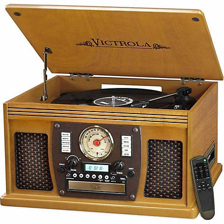 Victrola Wooden 7-in-1 Nostalgic Record Player with Bluetooth and USB Encoding, Oak